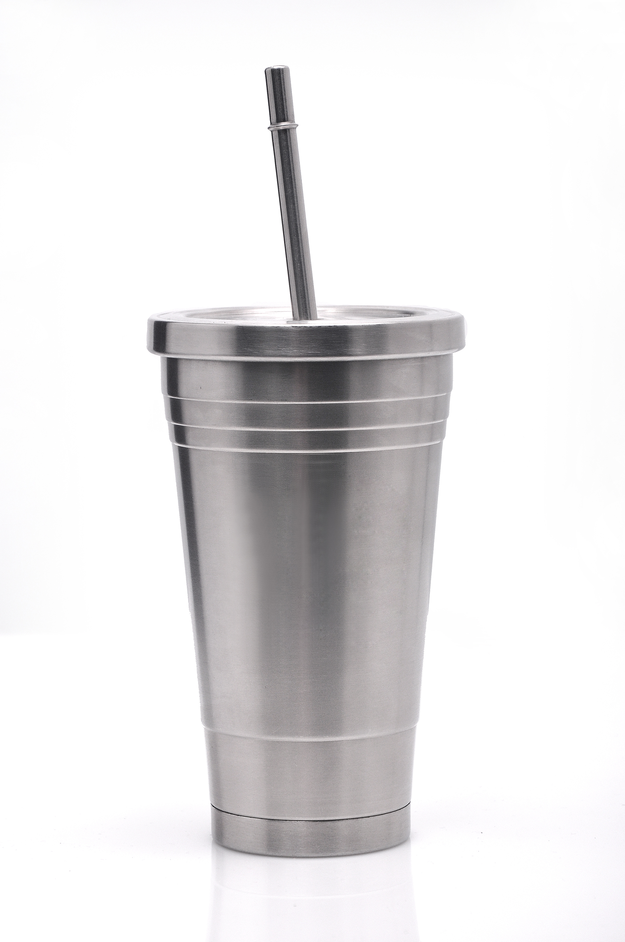 Stainless steel double layer tumbler with straw High res